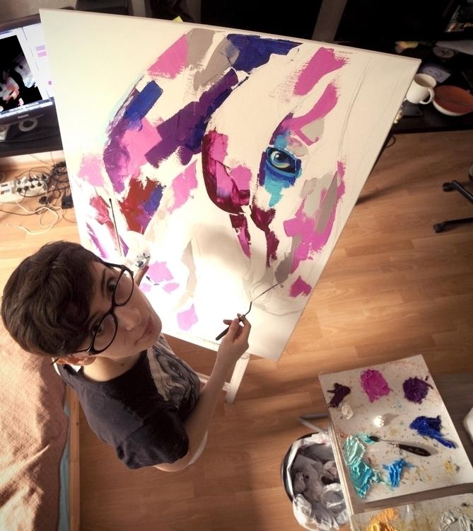 work progress - painting, horse - maridein | ello