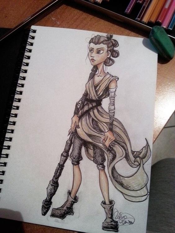 Rey - Star Wars - painting, characterdesign - vanillika | ello