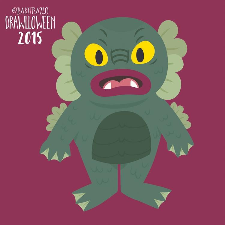 19 - Creature Black Lagoon - drawlloween - clairestamper | ello