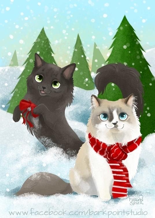 Kitty Kristmas - cat, kitty, meow - barkpointstudio | ello