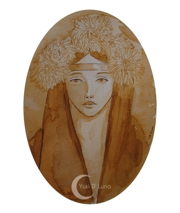 Yuki Luna - portrait, sepia, watercolor - yukidluna | ello
