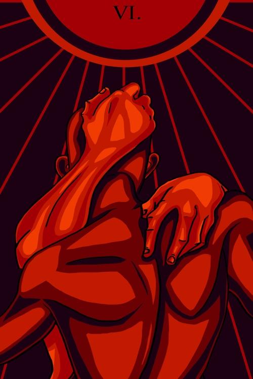 Lovers (VI - illustration, tarot - wingywonky-5811 | ello