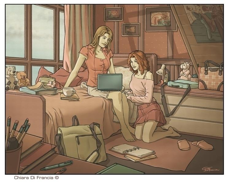 girls, woman, illustration, bedroom - chiaradifrancia | ello