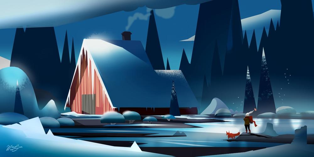 Winter - illustration, environment - monicagrue | ello