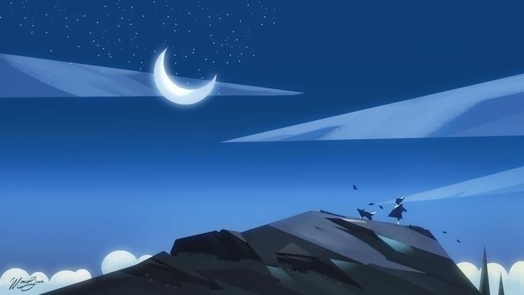 Night Visitor - illustration, environment - monicagrue | ello