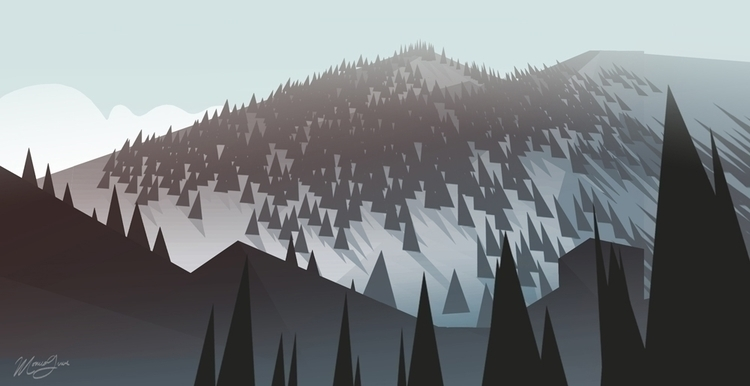Pine Peaks - illustration, environment - monicagrue | ello