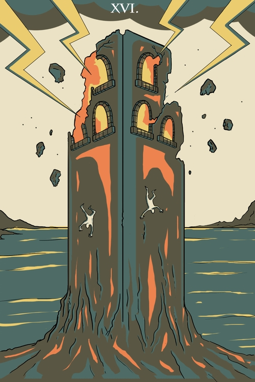 Tower (XVI - illustration, tarot - wingywonky-5811 | ello