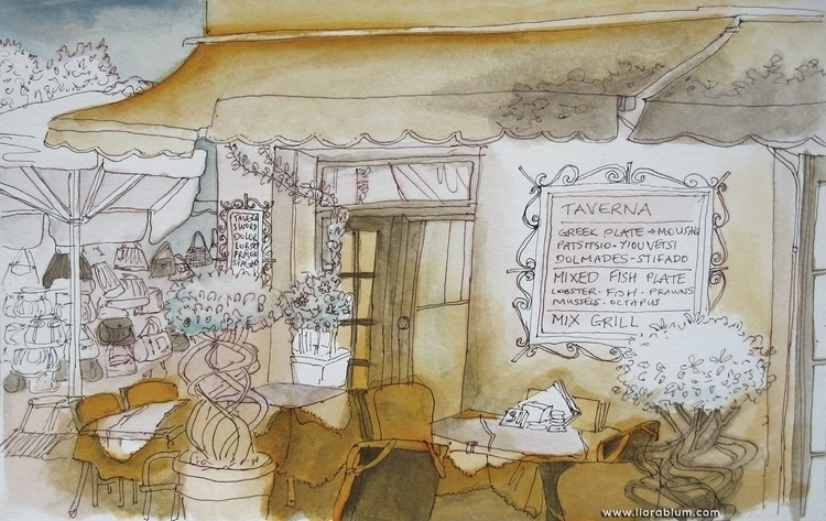Taverna Greece - illustration, sketchbook - liora-1444 | ello