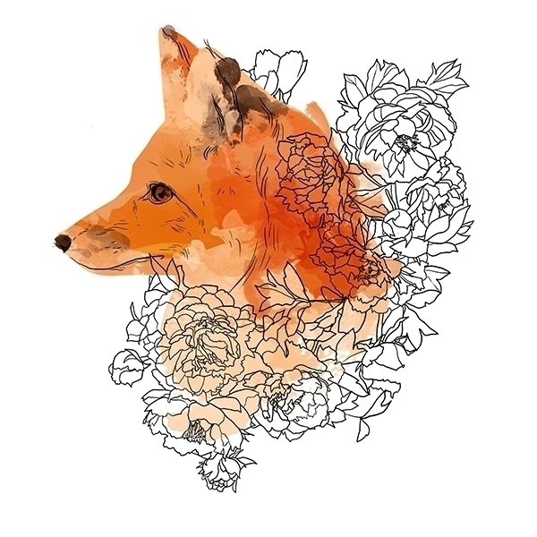 Watercolor fox flowers - illustration - gretaberlin | ello