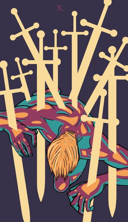 Ten Swords - illustration, tarot - wingywonky-5811 | ello