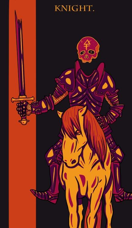 Knight Swords - illustration, tarot - wingywonky-5811   ello