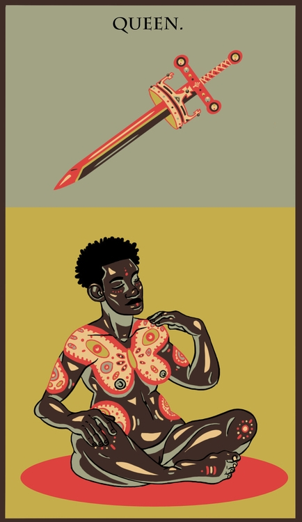 Queen Swords - illustration, tarot - wingywonky-5811 | ello