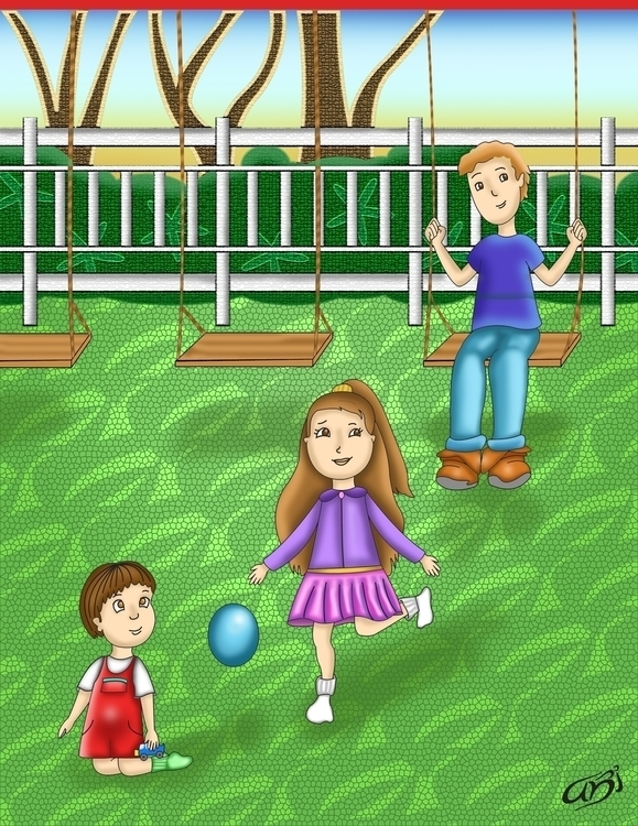 Kids playing park - character, kids - abi-1344 | ello