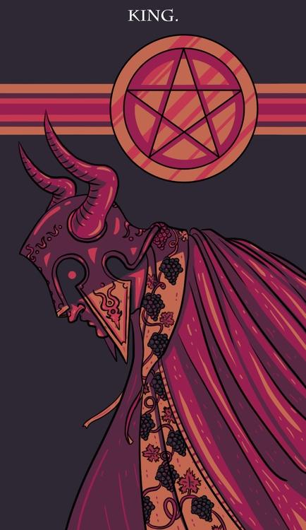 King Pentacles - illustration, tarot - wingywonky-5811 | ello