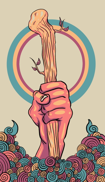 Ace Wands - illustration, tarot - wingywonky-5811 | ello
