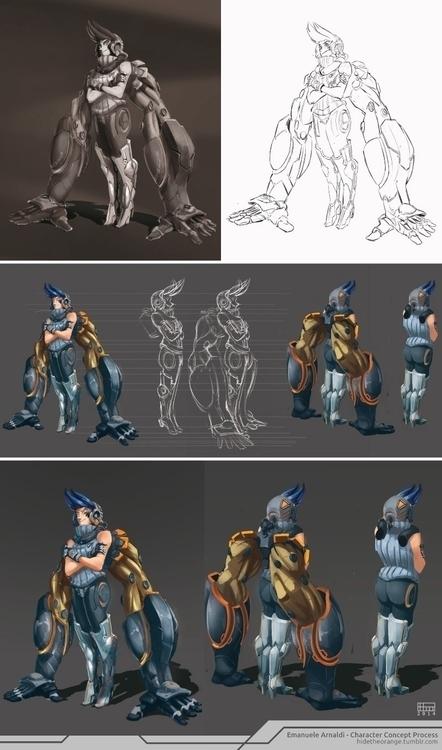 character process - 4 2d render - emanuelearnaldi | ello