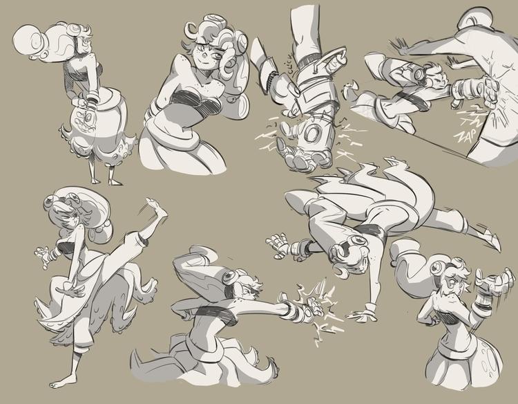 Manta action poses - characterdesign - emanuelearnaldi | ello