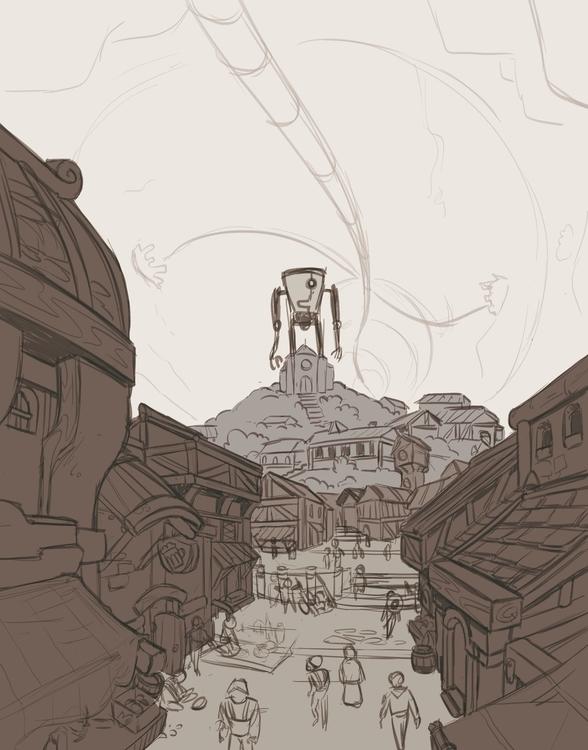 market town sketch - environment - emanuelearnaldi | ello