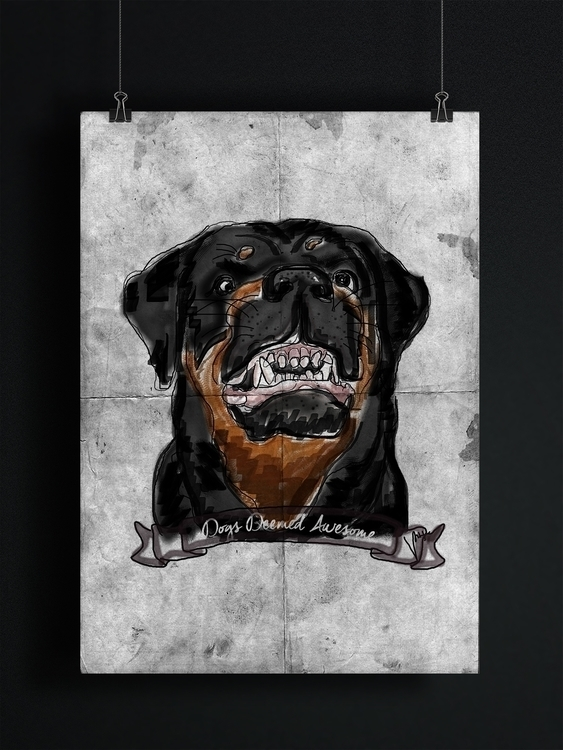 Dogs Deemed Awesome - Rottie - illustration - nessawvera | ello