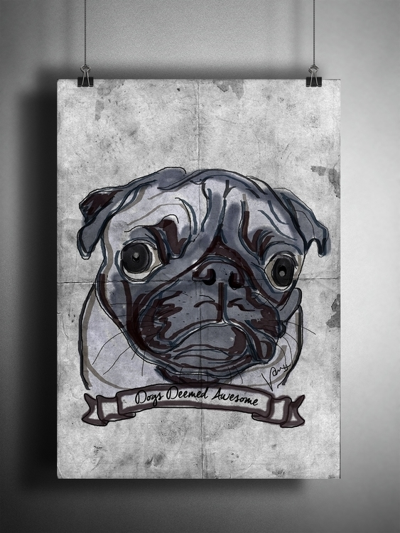 Dogs Deemed Awesome - Pug - illustration - nessawvera | ello