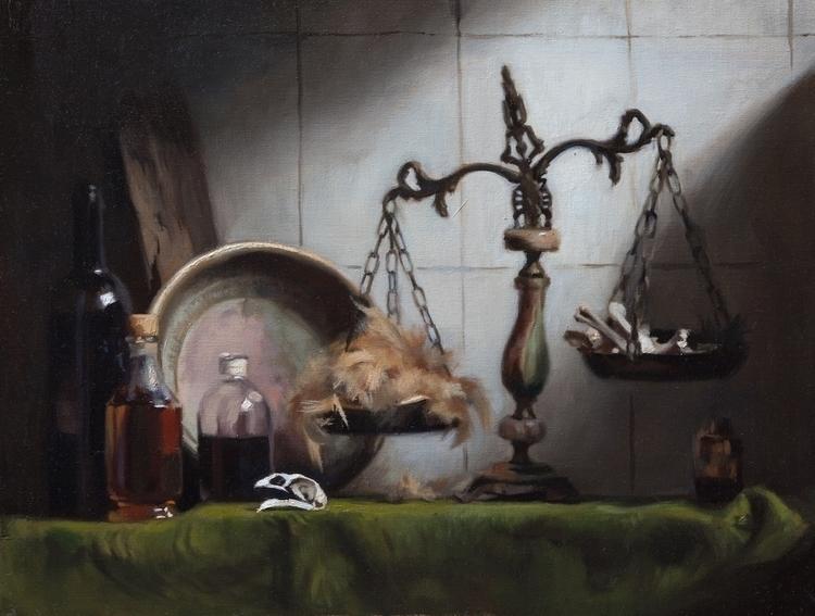 Mama Sees Chickens - painting, stilllife - sarachong | ello