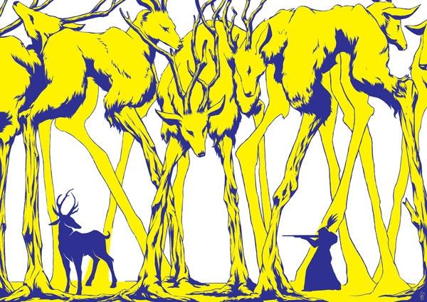 Deer woods - deer, illustration - sarachong | ello