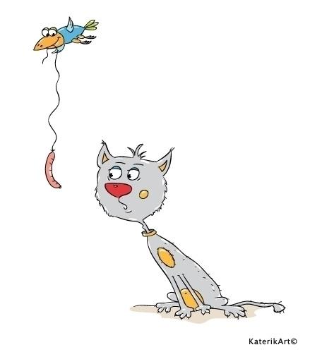 Kitty sausage - character, cat, cartoon - katerikart | ello