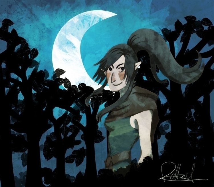 illustration, fantasy, night - melissadelteil | ello