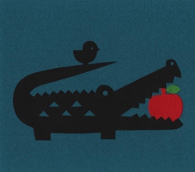 Alligator - illustration, paperart - chihirotakeuchi   ello
