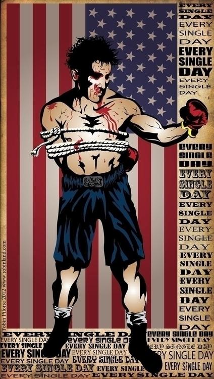 Damn Day - Vector Art - boxer, onehandtiedbehindback - tobinpilotte | ello