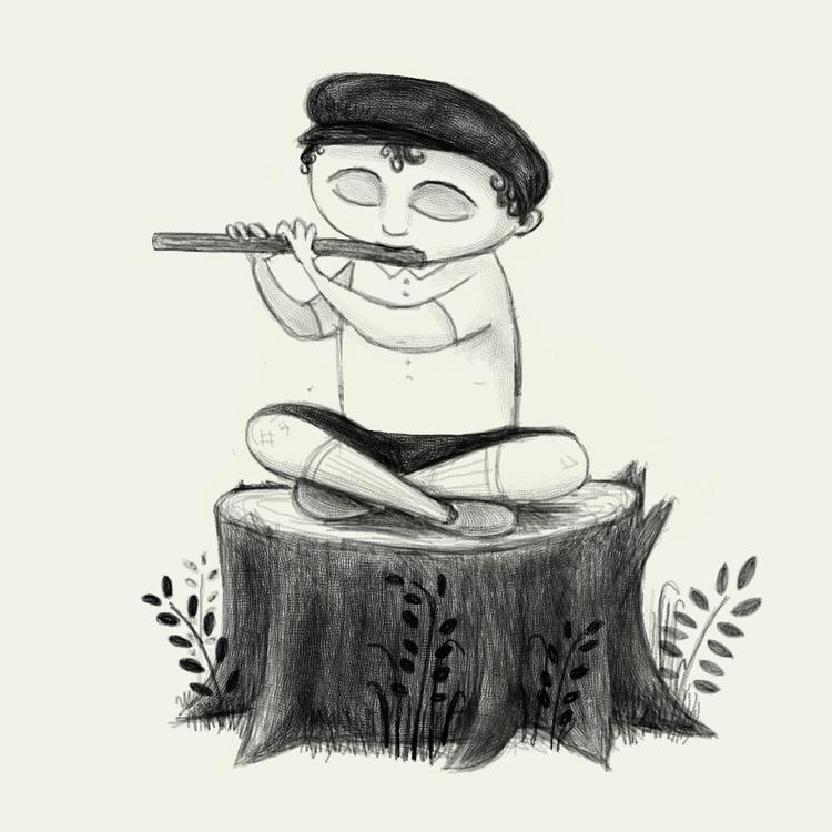 Forest flutist - illustration, characterdesign - beth-6270   ello