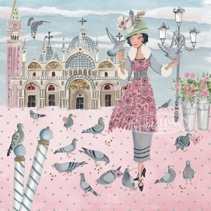 Pigeons Girl Venice Cartita Des - cartitadesign | ello
