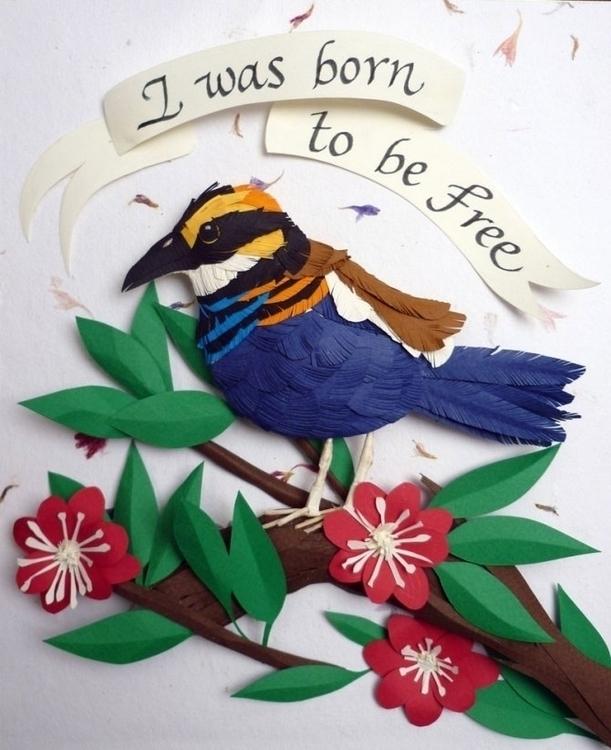 Born Free Paper sculpture - birdbirdspapercraftpaperillustration3d - leninavillela | ello
