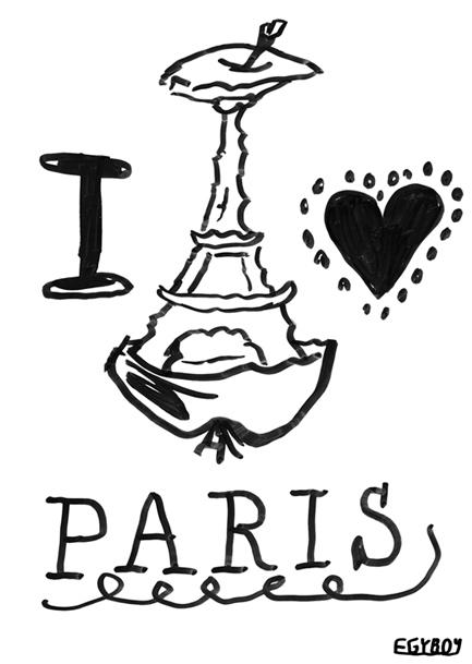 EGYBOY LOVE PARIS - black, marker - egyboy-4499 | ello