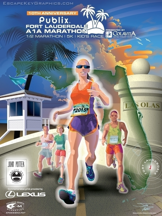 A1A Marathon Poster - illustration - mrgaric | ello