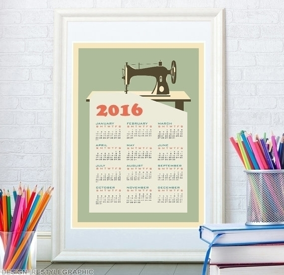 Retro sewing machine calendar - illustration - yaviki   ello