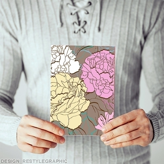 Peonies greeting card - illustration - yaviki | ello