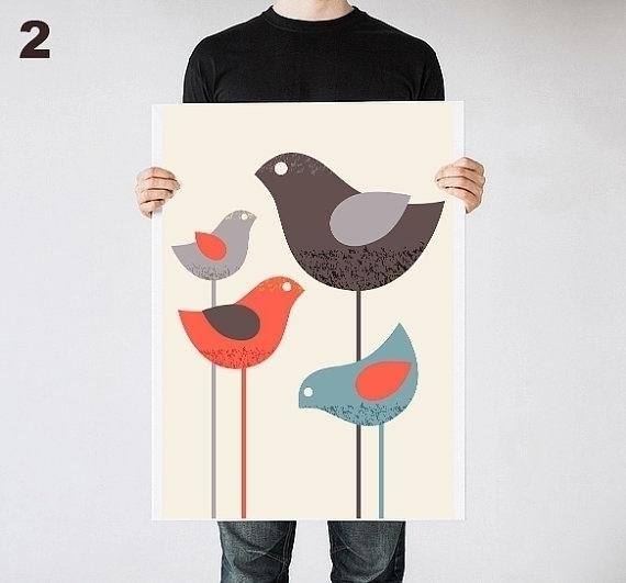 Birds print nursery - illustration - yaviki | ello