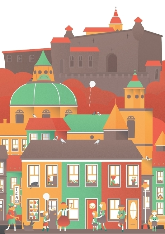 Salzburg autumn - illustration, digitalart - sarahherlant | ello