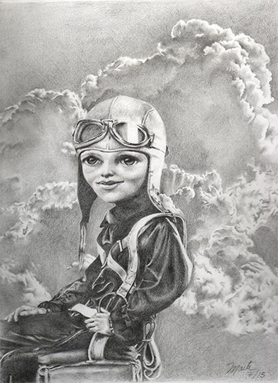 Amelia Earhart - illustration, drawing - maitegoitia | ello