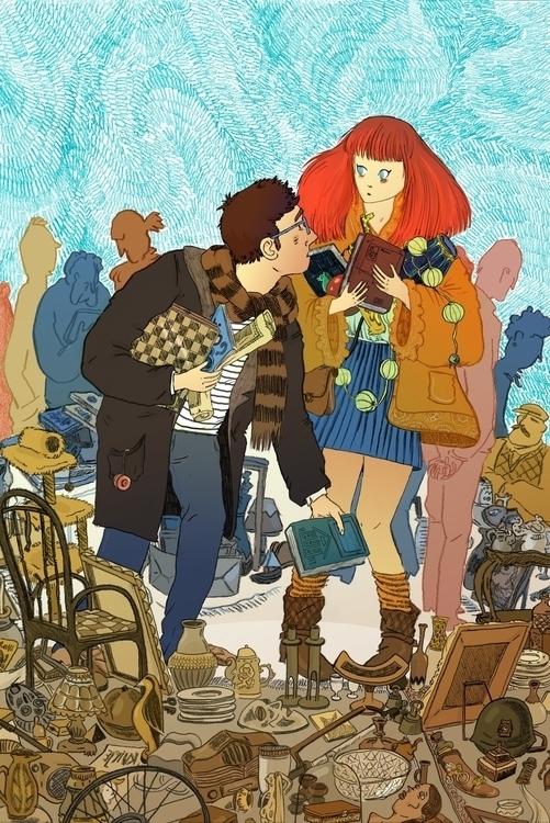flea market - illustration, drawing - sarahherlant | ello