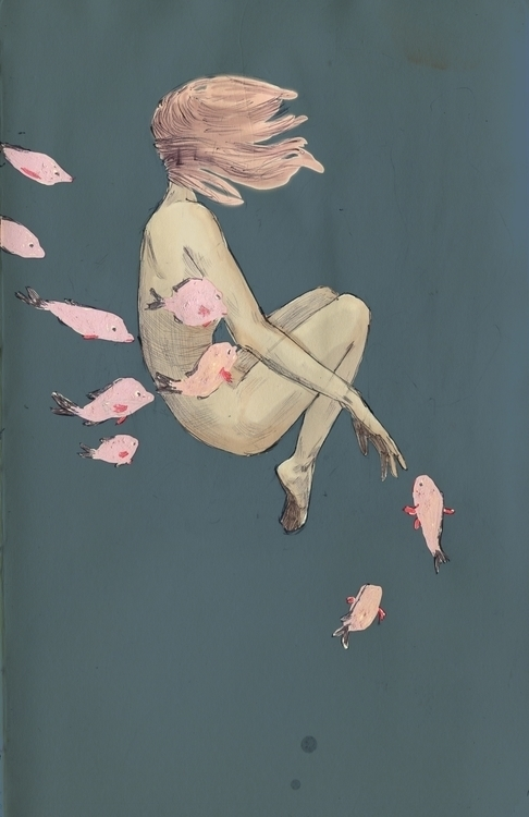fish - girl, pink, illustration - karlotta | ello