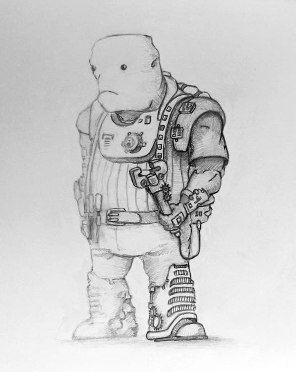 Sci fi alien mechanic sketch - 2dart - ghostb | ello