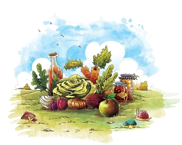 food, illustration, colorful - marinaveselinovic | ello
