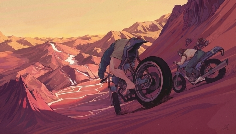 Journey strange sunset - bike, motorcycle - jon-6922 | ello