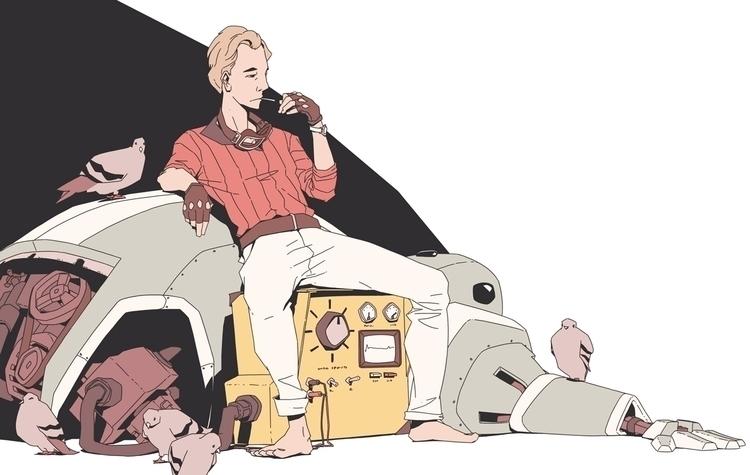 robot maintenance - sketch, character - jon-6922 | ello