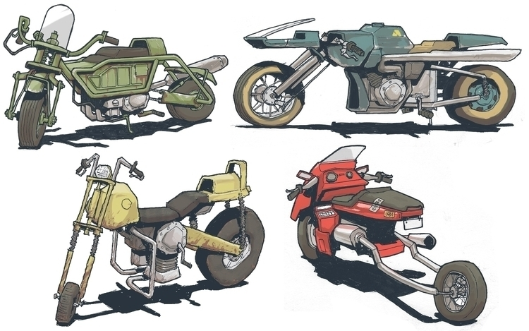 sketch, motorcycle, vehicle - jon-6922 | ello