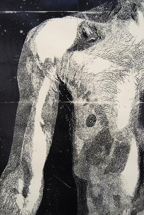 Linocut portrait detail. Shortl - benhendy | ello