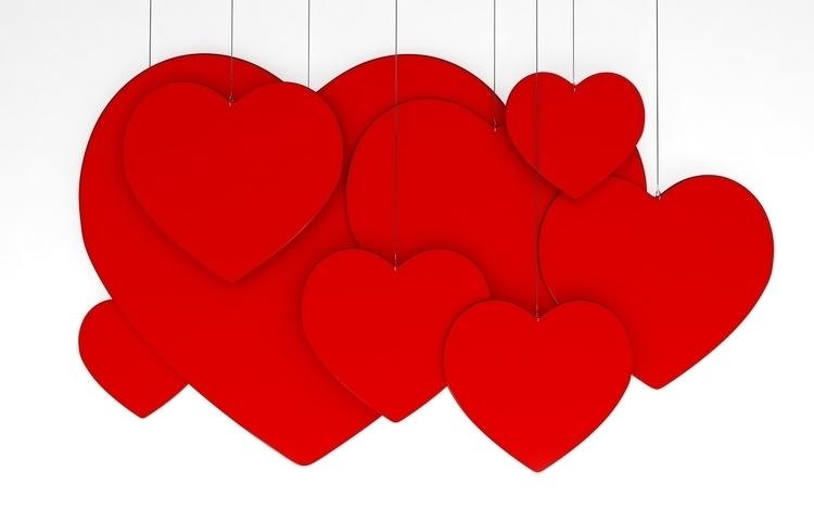 Hearts Hanging - 3d, design, conceptart - aman_d_singh | ello