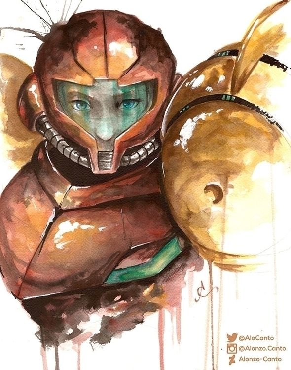 Samus - illustration, painting, watercolor - alonzocanto | ello